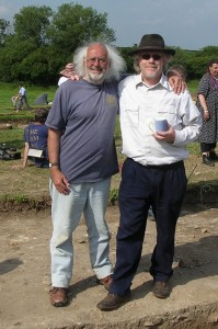 Mick Aston with Time Team producer Tim Taylor in 2005. Photo by Time Team historian Guy de la Bedoyere, who has released it into the public domain.