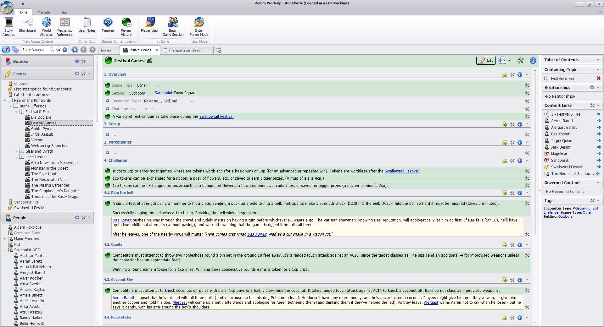 The GM's view of Realm Works. Paragraphs highlighted in green have been released to the players. The notes in pale yellow are GM notes which players won't see at all.